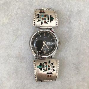 RARE Navajo Hallmarked T Sterling Watch